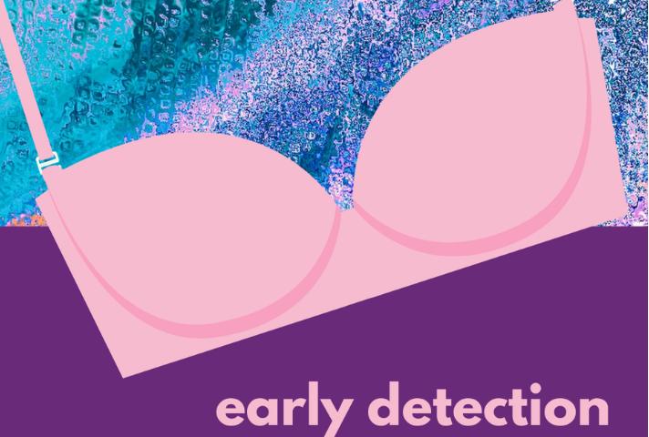 Blue pink bra breast cancer awareness