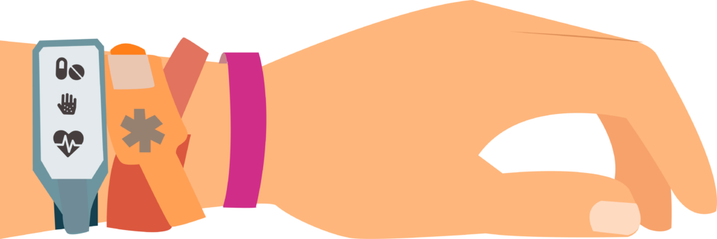 Right with medical bands