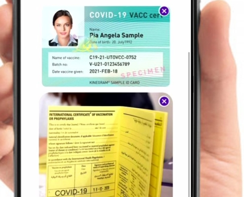 Hand with yellow card vaccine certificate
